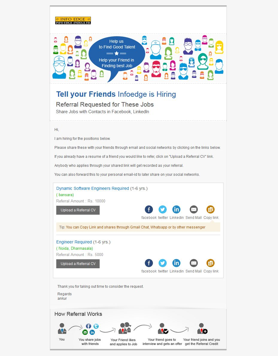 preview our best used referral ijp email templates recruiter zone talent theme smart stylish colors and motto to hidden talent in your employees network