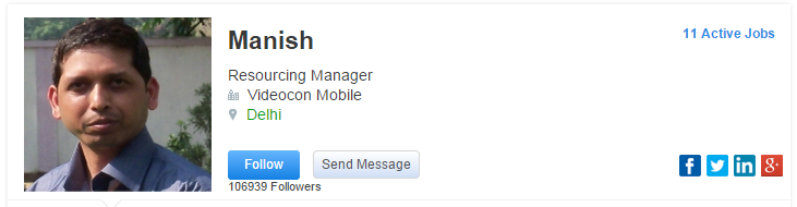 Manish Resourcing Manager Videocon Mobile Delhi