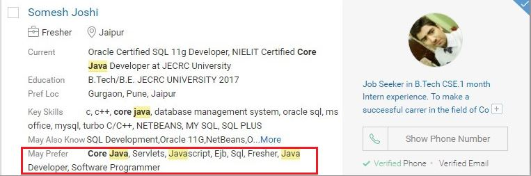 """New fields """"May Prefer"""" added to Fresher Profiles in Resdex to help"""