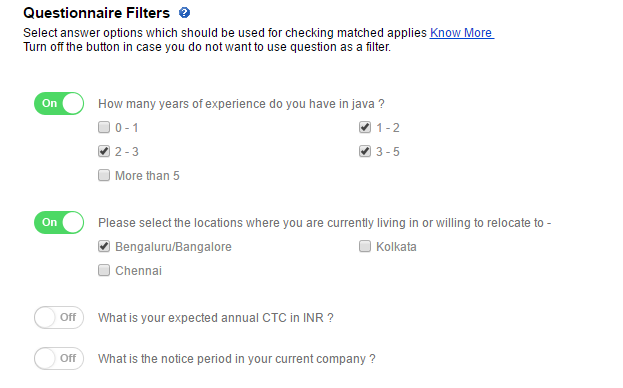 Questionnaire as a filter